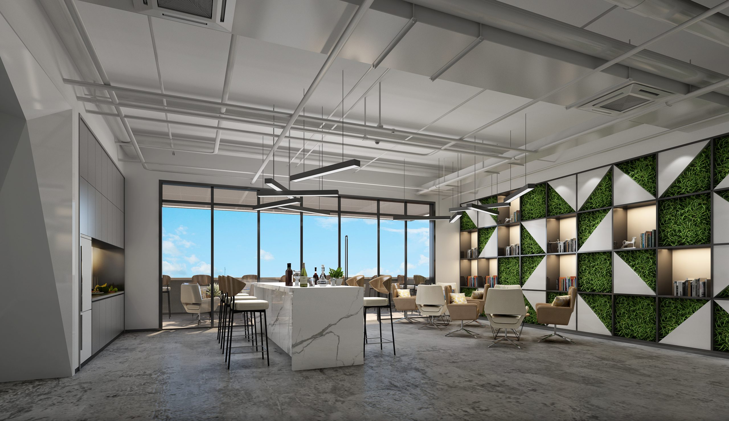 Office lounge area design renderings:3 principles about the interior design renderings of the office loung area.