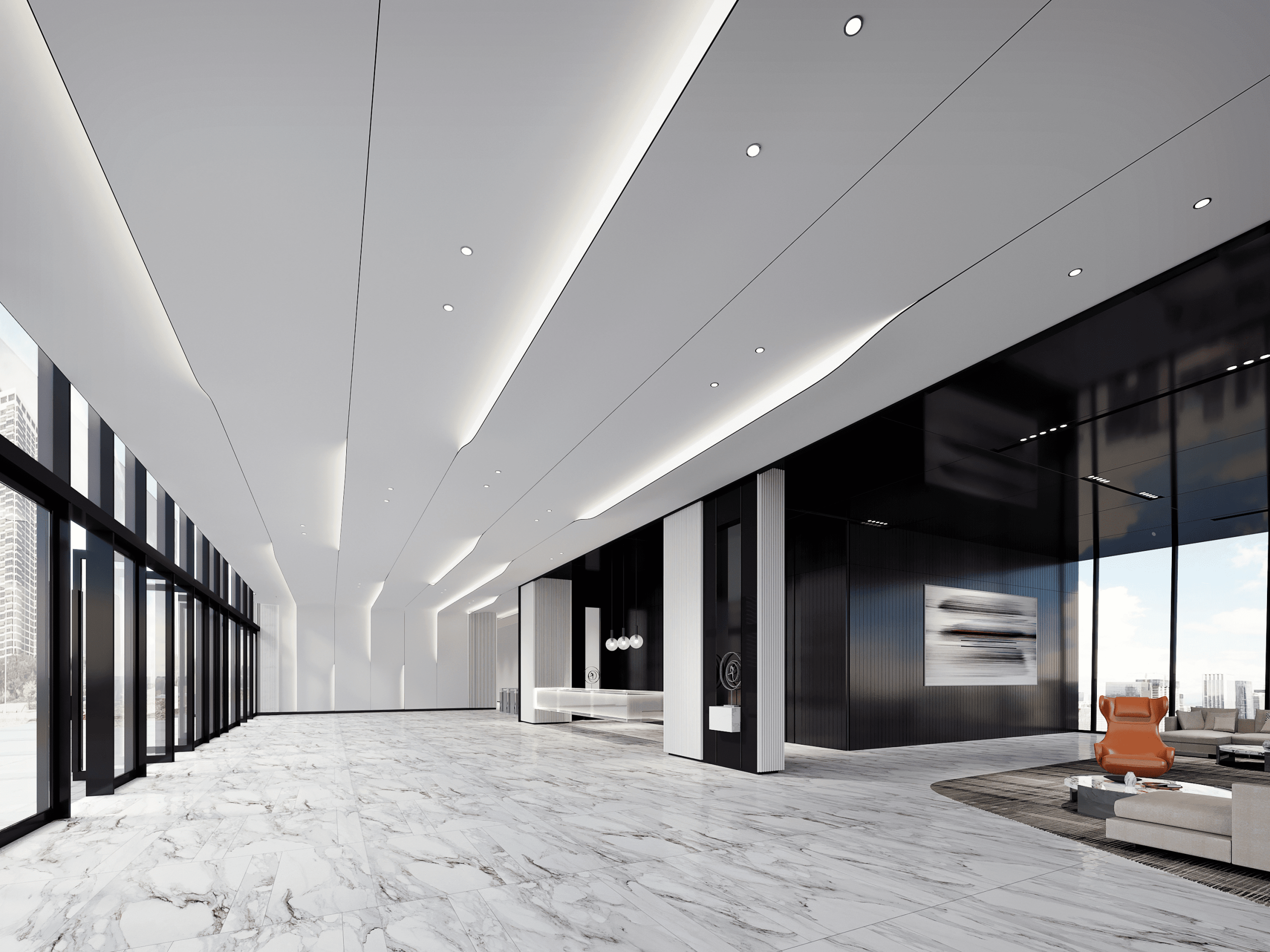 3d office lobby design rendering:Have you seen a striking 3d office lobby rendering?