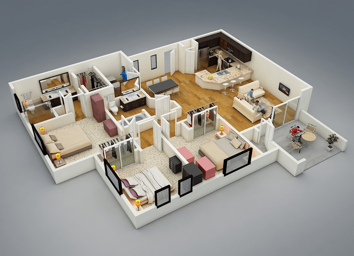 Rendered floorplan: The True Meaning of 3d Floor Plan Model