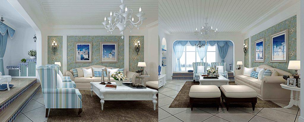 buy 3d interior renderings for Classic blue living room