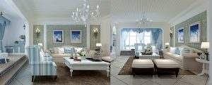 buy 3d interior renderings for Classic blue living room