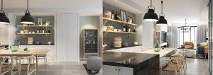 3d renderings for open kitchen
