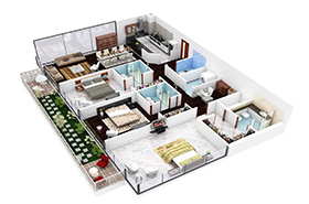 Three-Bedroom Apartment / House Floor Plan