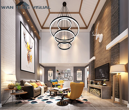 How fast can a 3d interior design rendering be done in sketchup?